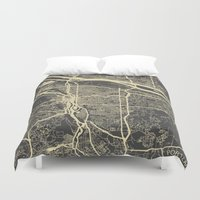 portland Duvet Covers featuring Portland Map by Map Map Maps