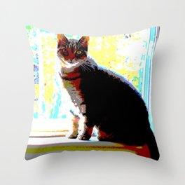 Pop Art Kitty Throw Pillow