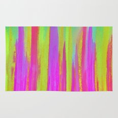 DISCO FEVER - Bright Neon Green Pink Funky Dance 70s Retro Stripes Abstract Watercolor Painting Rug