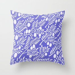 Olive Branches – Periwinkle Throw Pillow