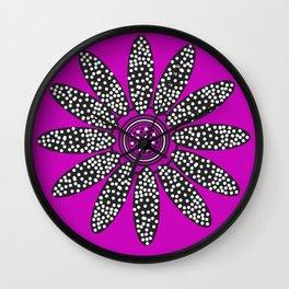 Daisy dots purple Wall Clock