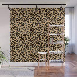 Classic Black and Yellow / Brown Leopard Spots Animal Print Pattern Wall Mural