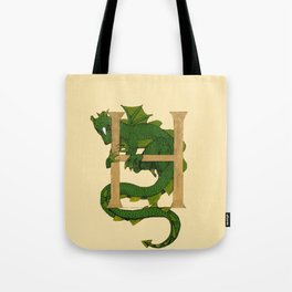 Oscar the Dragon Letter H Sans Roses Tote Bag