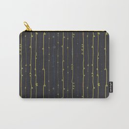 Twirly doodle lines. Lime and blue on black. Carry-All Pouch
