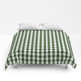 Dark Forest Green and White Gingham Check Comforters
