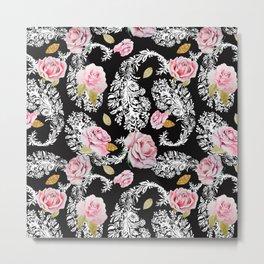 Flowering roses in the paisley Metal Print