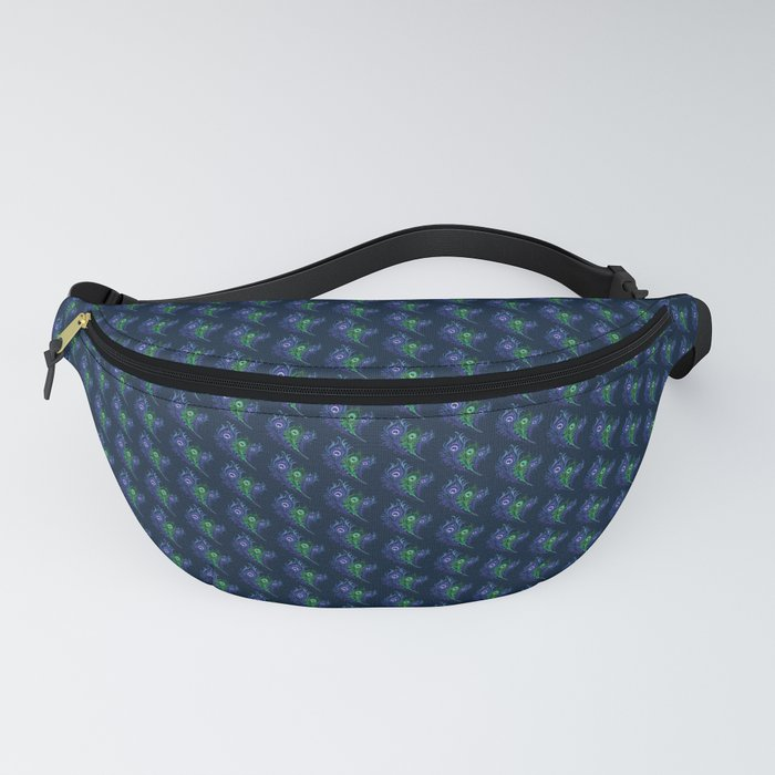 Lovely Peacock Feathers Pattern On Blue Fanny Pack