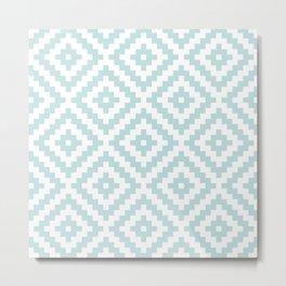 Aztec Block Symbol Ptn Blue & White I Metal Print