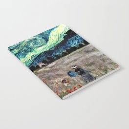 Monet's Poppies with Van Gogh's Starry Night Sky Notebook