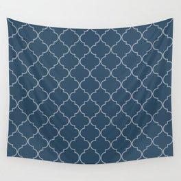 Sailor Blue Quatrefoil Wall Tapestry