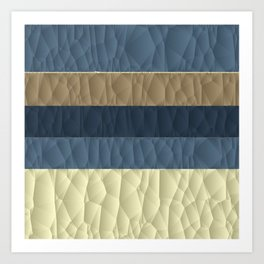 Cool Blue Taupe Color Pallet Quilted Texture Design Art Print