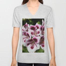 Purple Geraniums Flowers Unisex V-Neck