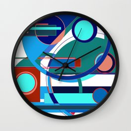 Abstract American Patriot: Art Deco Abstract Typography Wall Clock