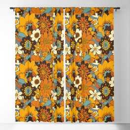 70s Retro Flower Power 60s floral Pattern Orange yellow Blue Blackout Curtain