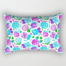 Watercolor Floral Garden in Rainbow Bloom Rectangular Pillow