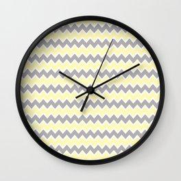 Grey Gray and Yellow Chevron Wall Clock