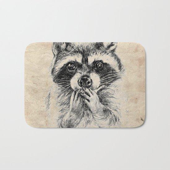 Surprised raccoon Bath Mat