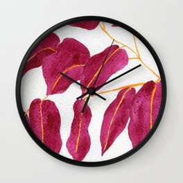 Ruby and gold leaves watercolor illustration Wall Clock
