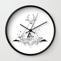 animal crew Wall Clocks featuring Animal by R. Gilbert