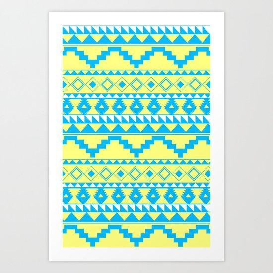 Aztec Pattern 2 Blue & Yellow Art Print