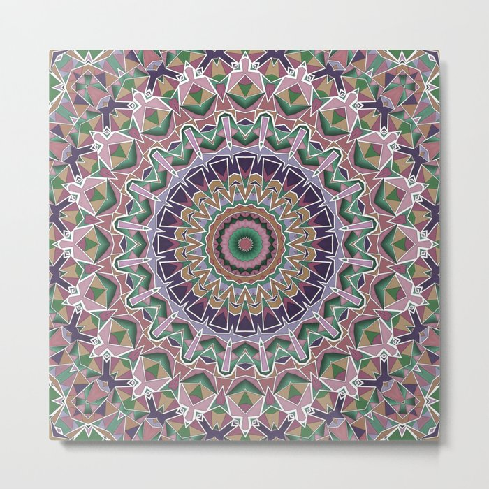 Round ornament in pink-brown tones . Mandala . Metal Print