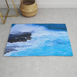 Tropical Island Sapphire Blue Ocean Waves With Foamy Surf Rug