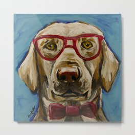 Yellow Lab with Glasses Art, Cute Lab Art, Pet Painting Metal Print