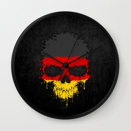 Flag of Germany on a Chaotic Splatter Skull Wall Clock