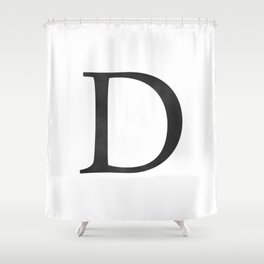 Letter D Initial Monogram Black and White Shower Curtain
