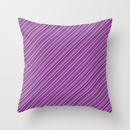Lilac Purple Violet Inclined Stripes Throw Pillow