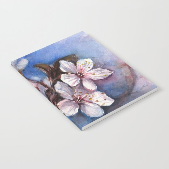 Cherry Blossoms Watercolor Spring Flowers Notebook