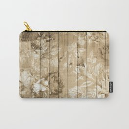 Shabby Chic Country Floral Peony Wood Carry-All Pouch