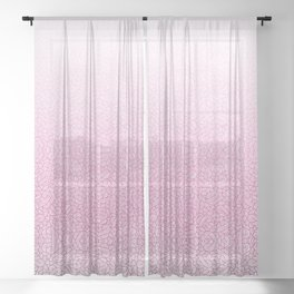 Gradient pink and white swirls doodles Sheer Curtain