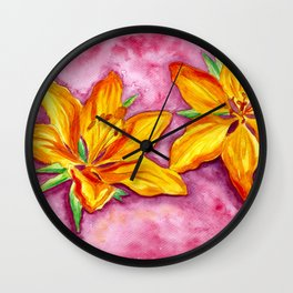 Orange Lily - Flower Watercolor Painting Wall Clock
