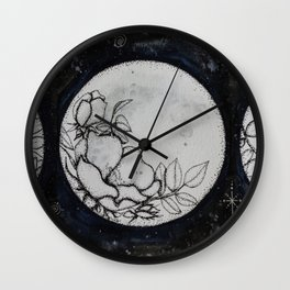 Flowers in the Moon Wall Clock