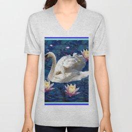 White Swan & Peach Water Lilies Blue Art Unisex V-Neck