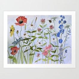 Wildflower Botanical Garden Flower Blue Skies Watercolor Art Print