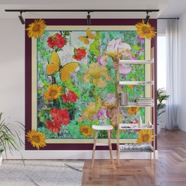YELLOW IRIS BUTTERFLY SPRING GARDEN BURGUNDY TRIM Wall Mural