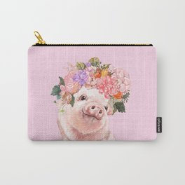Baby Pig with Flowers Crown Carry-All Pouch