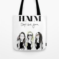 haim Tote Bags featuring Haim Days are gone by Mariam Tronchoni