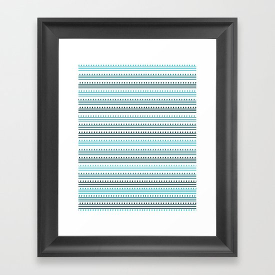 Aqua Lines and Dots Framed Art Print