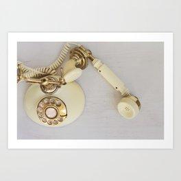 Vintage Cream and Gold Phone Art Print