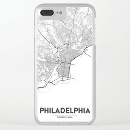 Minimal City Maps - Map Of Philadelphia, Pennsylvania, United States Clear iPhone Case