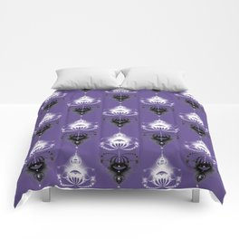 Ornament medallions - Black and white fractals on ultra violet Comforters