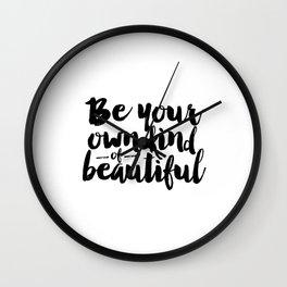 PRINTABLE Art,Be Your Own Kind Of Beautiful,Makeup Print,Bathroom Decor,Girls Room Decor,Wall Art Wall Clock