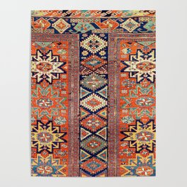Southwestern Farmhouse V // 19th Century Colorful Red Yellow Blue Green Aztec Farm Stars Pattern Poster
