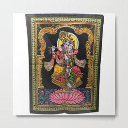 Radha Krishna Twisted Love Sequin Wall Hanging Metal Print