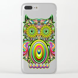 Owl Psychedelic Art Design Clear iPhone Case