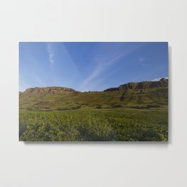 Green Fields Mountains and Blue Sky Metal Print