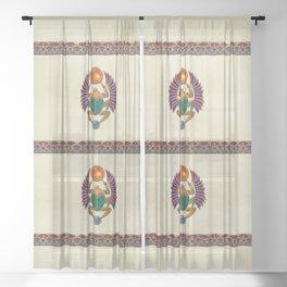 Sarcophagus 3d Egyptian Folk Art Sheer Curtain